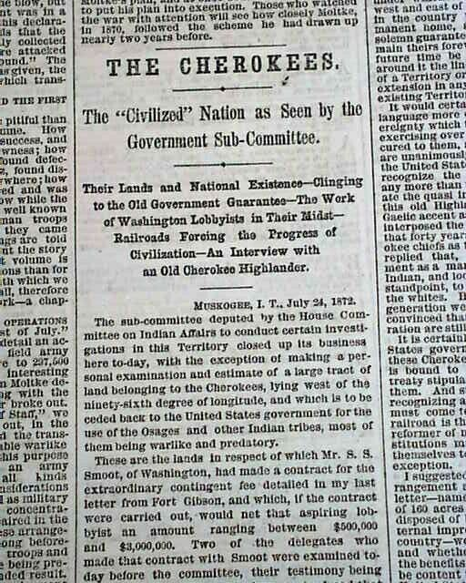 CHEROKEE NATION Cherokees Native Americans Indians & Government 1872 Newspaper