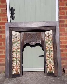 Vintage fire surround with beautiful ceramic tiles