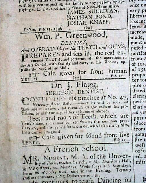 JOSIAH FLAGG First 1st Native American Born DENTIST Advertisement 1796 Newspaper