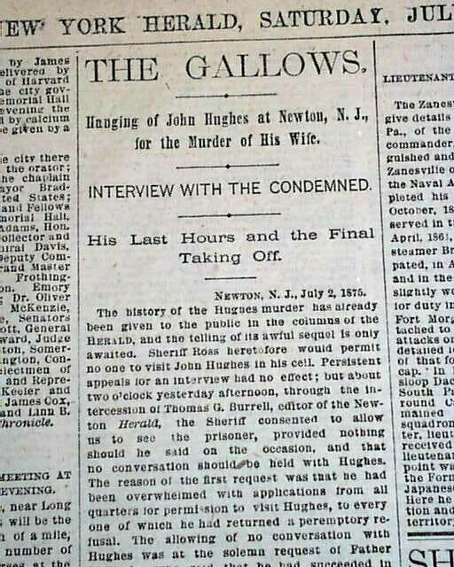 Town of NEWTON Sussex County NJ New Jersey Execution HANGING 1867 NYC Newspaper