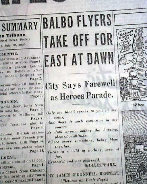 ITALIAN AIR ARMADA Flying Airplane Boats ITALO BALBO w/ Photo 1933 Newspaper