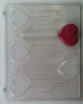 HEART LOLLIPOP CLEAR PLASTIC CHOCOLATE CANDY MOLD - Heart Lollipop