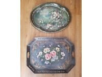 Vintage Shabby Chic Metal Trays x2 - Large