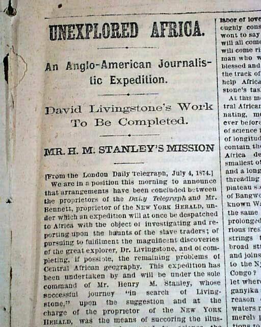DAVID LIVINGSTONE Henry Morton Stanley AFRICA Exploration 1874 Old Newspaper