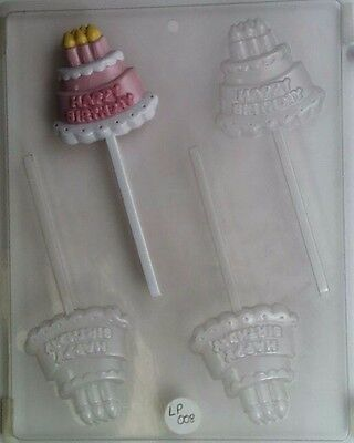 HAPPY BIRTHDAY CAKE LOLLIPOP CLEAR PLASTIC CHOCOLATE CANDY MOLD LP008 Clear Plastic Mold