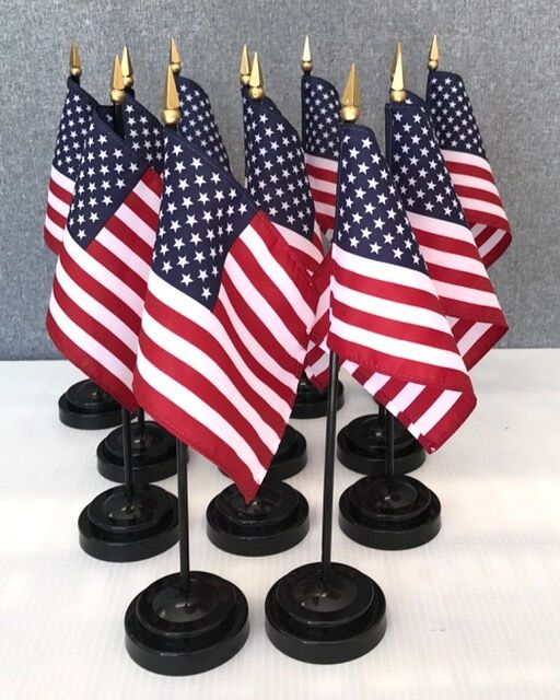 "LOT OF 12 American 4""x6"" Miniature Flags With Flag Stands,"
