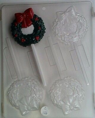 CHRISTMAS WREATH LOLLIPOP CLEAR PLASTIC CHOCOLATE CANDY MOLD -