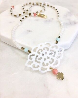 white and pink coral, 18K gold hematite gemstone necklace, bridal necklace,