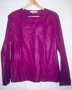 Ellen Tracy designer woman's leather jackets - pink / green