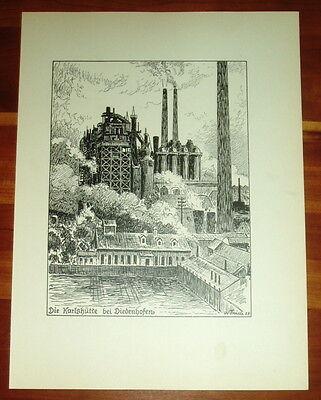 Diedenhofen Karlshütte: alte Ansicht / Druck ca 1924 Elsass Lothringen