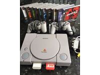Sony PlayStation 1 / PS1 console plus 2 controllers, 10 games, memory card, all wires and power lead