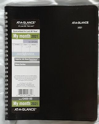 2021 At-a-glance Monthly Desk Planner G400-00 Black 7 X 8.75 Free Shipping