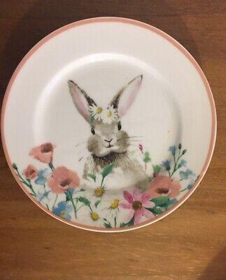 New CIROA Easter Parade Easter Bunny Appetizer Dessert Tidbit Plates Pink Rim