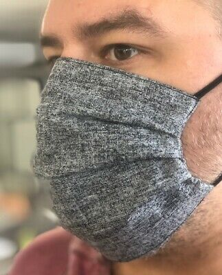 FACE MASK Pack of 3 - HAND MADE IN USA - WASHABLE - Color Royal Gray
