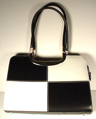 Black White Color Block Purse Designer Style Vintage Hand Bag Tailored Mod 1960s