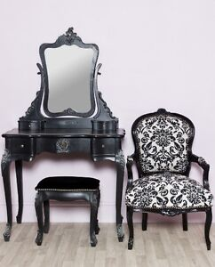 Chateau French Style Boudoir Black Dressing Table, Mirror & Stool Set