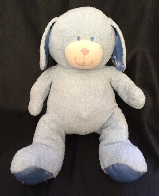 "Animal Alley PUPPY DOG Blue 11"" Plush Satin Feet Ears Toys R Us Stuffed Baby"