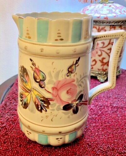 "Vintage Pitcher, Jug Hand Painted 7 1/2"" Tall"