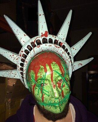 Purge Kostüme (The Purge 3 Maske Halloween Kostüm Leuchtend Freiheitsstatue Neon Kostüm)