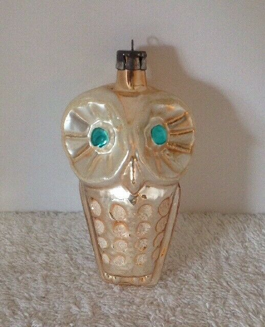 "ANTIQUE VTG OWL 4"" GERMANY MERCURY GLASS MICE GLITTER GREEN EYES XMAS ORNAMENT"