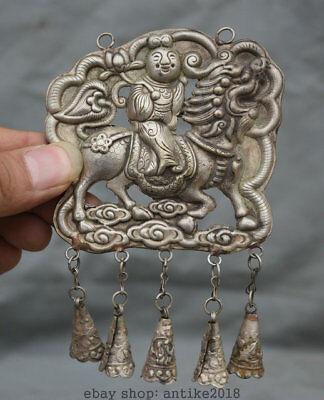 12CM Old Chinese Silver Dynasty Tongzi Immortal Ride Dragon Qilin Statue Pendant