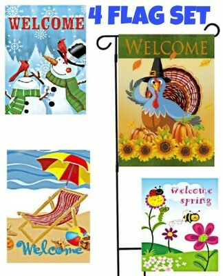 *SET OF 4 Flags* Seasons Welcome Garden Flags,Gift,Lawn Decor,Double Sided 12x18