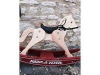 Retro Radio Flyer Vintage Solid Wood Childrens Rocking Horse Antique Toy