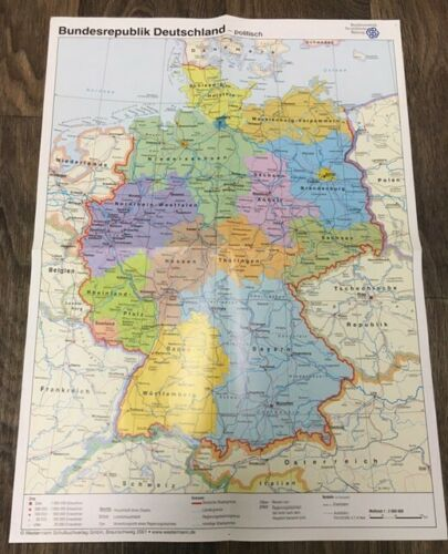 Map of Germany Karte von Bundesrepublik Deutschland Political/Physical Deutsch