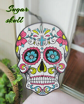 Day Of The Dead Decorations (SUGAR SKULL Saprkly COLORFUL Decor WALL DAY OF THE dead FIESTA 1-NOVEMBER)