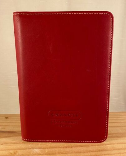 "Vintage Coach Red Leather Brag Book Photo Album 4.75"" x 6.75"""