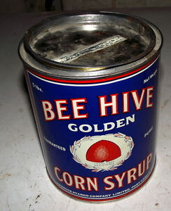 Good condition Bee Hive corn syrup can