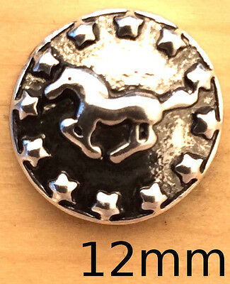 ?(Mini Snap Chunk Button 12mm Running Horse Charm For Ginger Snap Style - Mini Horse Charm