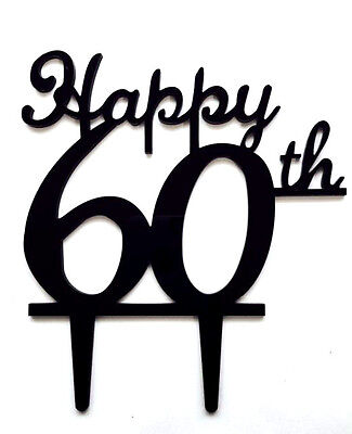 Happy 60th Birthday Anniversary Number Cake Topper Party Decoration Favor Sign -