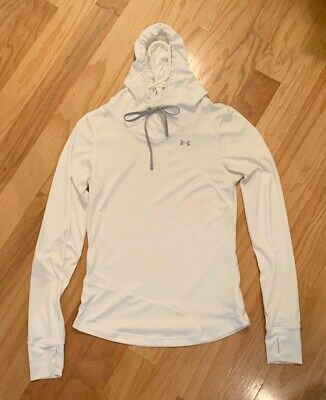 Under Armour UA Women's White Hoodie Fitted Medium Fits Like Small Heat Gear NR