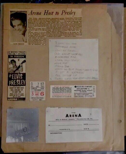 Amazing Display Of Elvis 56 Concert Ticket From Fan's Scrapbk- 1956 - Very Rare