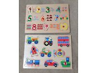Two wooden peg puzzles - numbers & vehicles - like new!