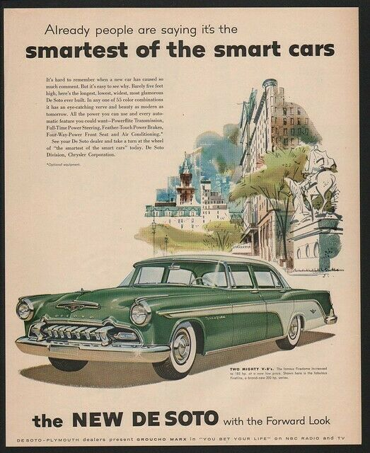 1955 DeSOTO FIREDOME V-8 Car -  MANHATTAN STATUE OF LIBERTY  New York VINTAGE AD