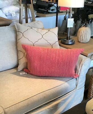 Pottery Barn Honeycomb Lumbar Pillow Cover Washed Red 16x26L Farmhouse
