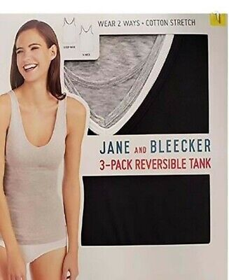 NEW Jane and Bleecker Women's 3-Pack Cotton Stretch Reversible Tank  VARIETY