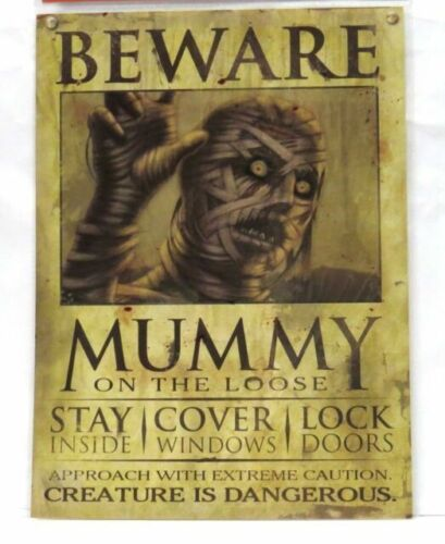 **HALLOWEEN HAUNTED MUMMY MONSTER WANTED POSTER SIGN HAUNTED HOUSE PROP