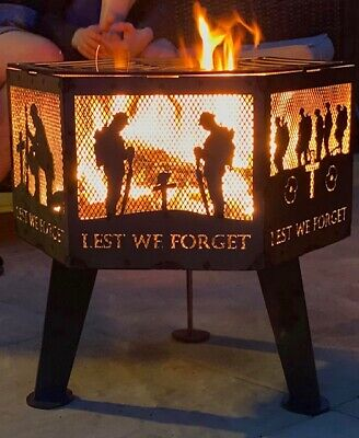 """Lest We Forget"" soldier hexagonal fire pit natural finish with grill"