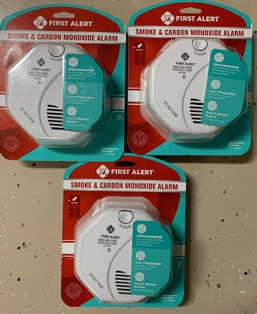 3 Pack First Alert Smoke and Carbon Monoxide Alarm Wireless