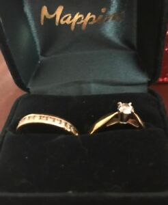 Canadian Diamond Wedding Solitaire Ring  & matching bands
