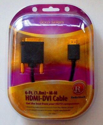RADIO SHACK High Speed 6 ft. HDMI to DVI  Cable Black NEW Gold Series Dvi Hdmi Cable Radio Shack