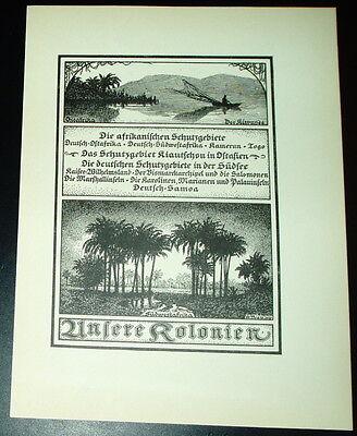 Unsere Kolonien Ostafrika Kamerun Togo: großform. Tafel Druck Ansicht 1920