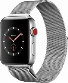 Apple Watch Series 3, GPS and Cellular, 42mm Stainless Steel Case with Milanese Loop, Silver