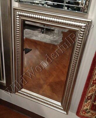 "Set 2 Beaded Edge Wall Mirror Champagne Silver 35"" Mercury Glass Venetian Pair"