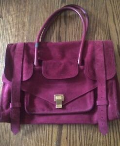 Authentic Proenza Schouler Dark Raspberry Suede Keep All Satchel