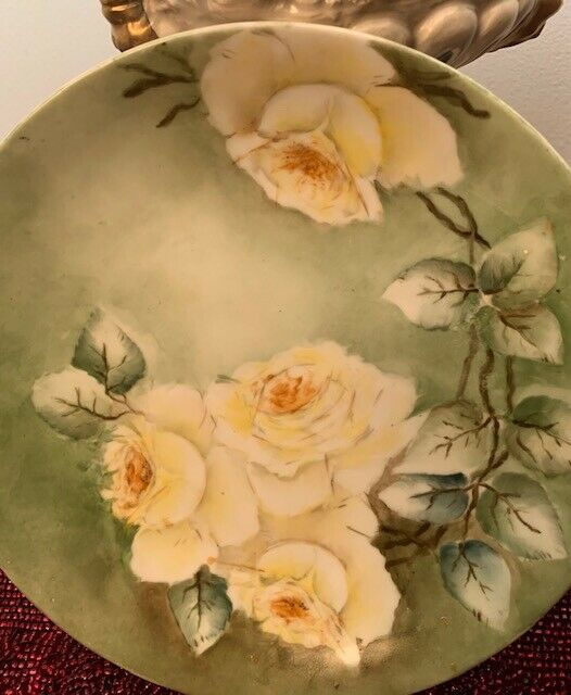 Antique  Empire Bavaria Plate Hand Painted Signed by Artist B. Croswell 8 1/2""