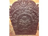 Cast iron fire back - probably Victorian